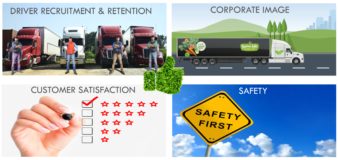 A graphic illustrates the soft benefits of replacing trucks: customer satisfaction, safety, corporate image, and driver recruitment and retention.