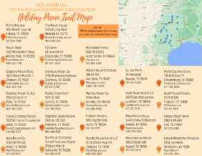 TPGA's Holiday Trail Map shows a list of pecan retail stores and orchards looking to sell to the general public this holiday season.